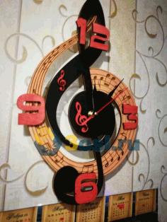 Laser Cut Clock Treble Clef Maxi Free CDR Vectors Art