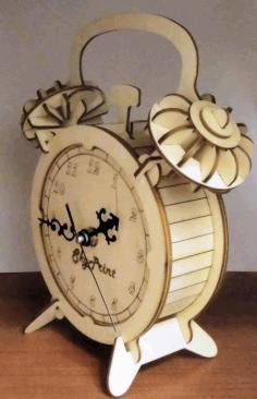 Laser Cut Clock Wooden Free CDR Vectors Art