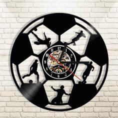 Laser Cut Football Sport Wall Clock Gift For Soccer Lover Free CDR Vectors Art