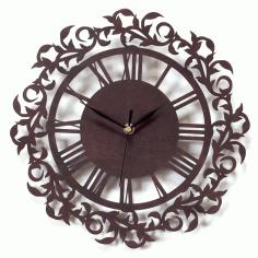 Laser Cut Wooden Clock Model Free CDR Vectors Art