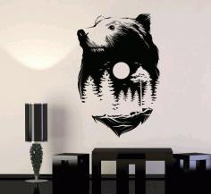Laser Cut Bear Wall Art Wall Decor Free CDR Vectors Art