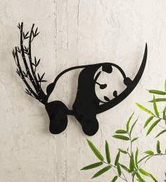 Laser Cut Sleeping Panda Wall Decor Free CDR Vectors Art