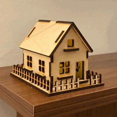 House 3mm Plywood Laser Cutting Template Free PDF File