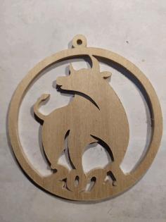 Laser Cut Bull Symbol New Year 2021 Decoration 3mm Plywood Free PDF File
