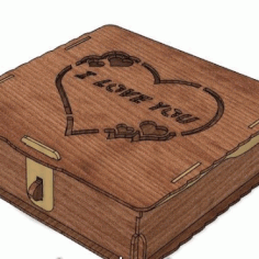 Laser Cut Jewelry Box I Love You Layout Free CDR Vectors Art