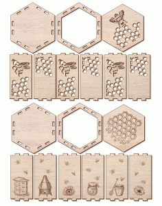 Laser Cut Layout Of Box For Honey Free CDR Vectors Art