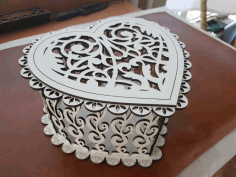 Laser Cut Layout Of Jewelry Box Heart Free CDR Vectors Art