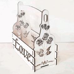 Laser Cut Valentine Day Decor Valentine Basket Floral Arrangement Vector Free CDR Vectors Art