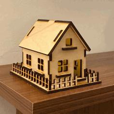 House 3mm Plywood Laser Cut Free PDF File