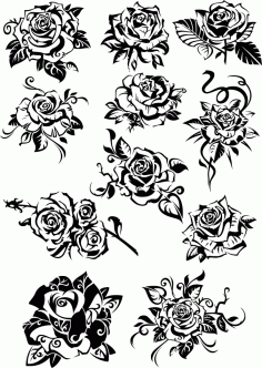 Black And White Roses Vector Clipart Download Free DXF File