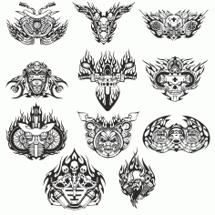 mock-ups Of Motorcycle Sticker Collection Free DXF File
