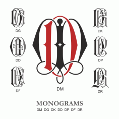 Monogram Vector Large Collection Dm Free DXF File