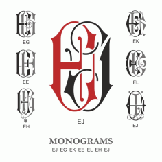 Monogram Vector Large Collection Ej Free DXF File