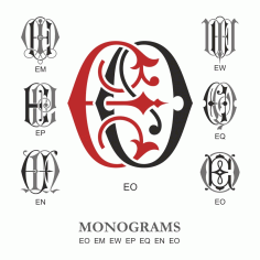 Monogram Vector Large Collection Eo Free DXF File
