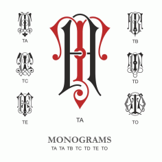 Monogram Vector Large Collection Ta Free DXF File