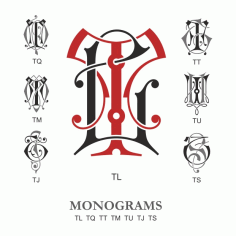 Monogram Vector Large Collection Tl Free DXF File