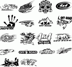 Layouts Of Stickers On An off-road Car Free DXF File