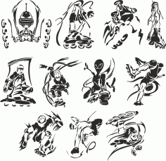 Vector Collection Of Roller Sketches Free DXF File
