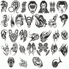 Great Collection Of Zodiac Signs Tattoos Free DXF File