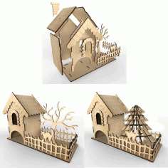 Tea House With Woodland Vector Layout For Laser Cutting Plywood Free DXF File