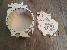 Laser Cut Box Bull Free CDR Vectors Art