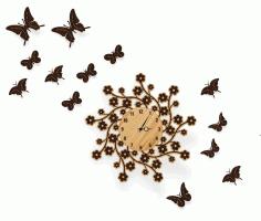 Laser Cut Butterfly Clock Free CDR Vectors Art