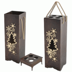 Laser Cut Decorative Wine Bottle Packaging Gift Box Free CDR Vectors Art