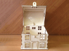 Laser Cut Bank Layout In The Shape Of A House Free CDR Vectors Art