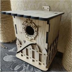 Laser Cut Bird House Layout Free CDR Vectors Art