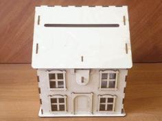Laser Cut Layout Of House Piggy Bank Free CDR Vectors Art