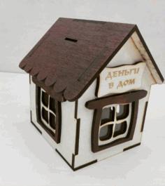 Laser Cut Piggy Bank House Free CDR Vectors Art
