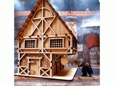 Laser Cut Small House Free CDR Vectors Art