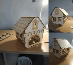 Laser Cut Small Wooden House Free CDR Vectors Art