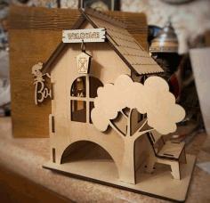 Laser Cut Tea House With Bench Free CDR Vectors Art