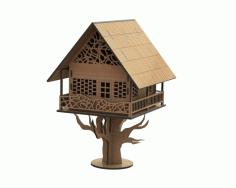 Laser Cut Tree House Free CDR Vectors Art