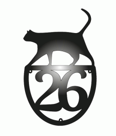 Laser Cut House Number With Cat Free DXF File
