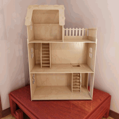 Laser Cut Three Story Wooden Doll House Free DXF File