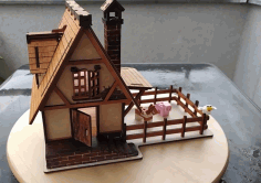 Model Of A Medieval House Made Of plywood. Drawings For Laser Cutting Free DXF File