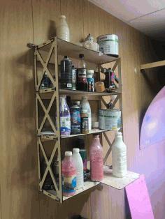 Laser Cut Shelf For Paints Free CDR Vectors Art