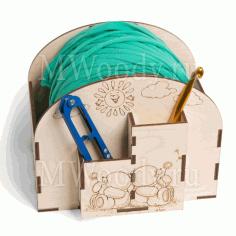 Laser Cut Crochet Bobbin Holder Yarn Holder Spinner Organizer Free CDR Vectors Art