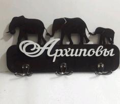 Laser Cut Elephant Keys Holder Free CDR Vectors Art