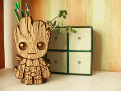 Laser Cut Pencil Holder With Baby Groot Free CDR Vectors Art
