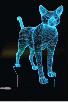 Laser Cut Cat 3d Lamp Free CDR Vectors Art