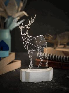 Laser Cut Modern Reindeer Lamp Geometric Deer Night Light Free CDR Vectors Art