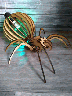 Laser Cut Spider Lamp Layout Free CDR Vectors Art