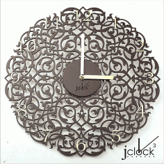 Laser Cut Layout Of Wooden Clock Ornament Free CDR Vectors Art