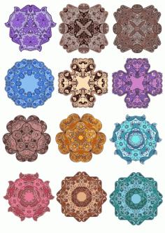 Laser Cut Mandala Floral Mandala Set Ornament Art Free CDR Vectors Art