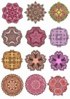 Laser Cut Mandala Ornament Set Art Free CDR Vectors Art
