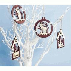 Laser Cut Tree Ornaments Free CDR Vectors Art