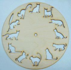 Laser Cut Animal Clock Drawing Free CDR Vectors Art